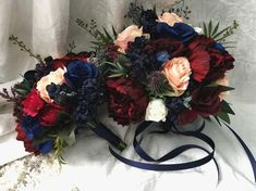 Items similar to Wedding Bouquet Burgundy Navy Blue Red Peony Eucalyptus Wedding Maroon Package Handmade Artificial Faux Flowers Wedding Decor on Etsy Navy And Burgundy Wedding, Maroon Wedding, Fall Wedding, Wedding Ideas, Burgundy Decor, Wedding Planning, Wedding Vows, Wedding Themes, Wedding Dresses