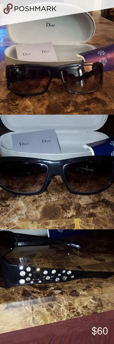 Christian Dior sunglasses Authentic Christian Dior sunglasses. Worn but in great used condition. 3 of the crystals have come out as shown in the pictures. Other then that really beautiful glasses. They are not ray ban dark so I never liked them after the change over. Christian Dior Accessories Glasses