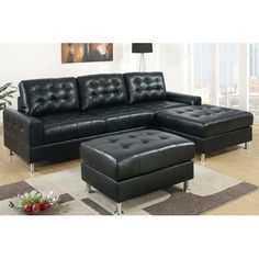 2 Pc Reversible Black Bonded Leather Sectional Sofa With Chaise Lounge With  Chrome Legs And Tufted Back And Seats   Sears