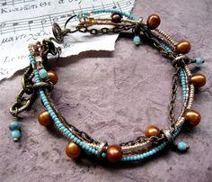 santa fe bracelet - seed beads, brass chain, pearls