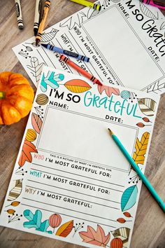 """""""I'm so grateful for ......"""" Thanksgiving printable fill in. You can use this for kids or adults via http://thirtyhandmadedays.com"""