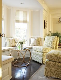 A sunny conversation area in the living room centers around a sculptural modern table; Home Living Room, Living Area, Living Spaces, Small Living, Luxury Interior Design, Interior Design Living Room, Interior Ideas, House And Home Magazine, Living Room Inspiration