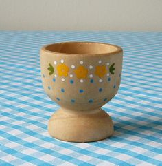 heidi hand painted wooden egg cup yellow-white-blue by the night owl