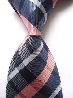 New Classic Checks Blue Pink White JACQUARD WOVEN 100% Silk Men's Tie Necktie #Handmade #NeckTie