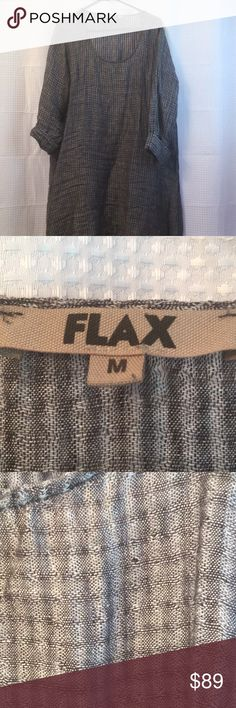 Flax Linen gauze tunic Light and airy all describes this top... washable and 100% linen gauze!  Pretty tunic length with a high low hem... pretty at an evening affair or just out and about town! Flax Tops Tunics