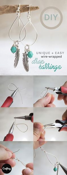 This tutorial shows you how to make beautiful wire-wrapped drop earrings using four inches of wire and unusual tools. These make a cute and special Mother's Day gift!  #JewelryTips