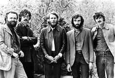 Garth Hudson, Robbie Robertson, Levon Helm, Richard Manuel and Rick Danko of The Band pose for a group portrait in London in June 1971