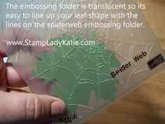 Spider web embossing folder used to make veins in a die cut leaf