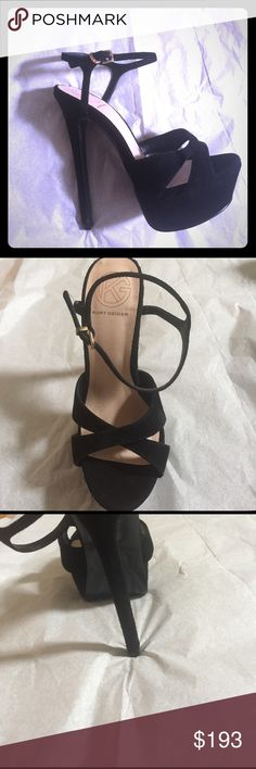 Kurt Geiger blk suede heeled sandals marked sz 36 Like new gorgeous blk suede high heeled sandals w/ platform toe by Kurt Geiger. Bought them directly from the website in UK. Worn once for approx 1 hr be4 realizing that they might be a bit too small 4 me. Marked size 36. Had they come in a 36.5 I would've returned them but next size up was 37. My larger foot just fits the footbed but the footbed feels narrow where the ball of my foot rests. However toe strap is not 2 tight. They are so…