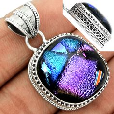 Dichoric Glass 925 Sterling Silver Pendant Jewelry DICP417