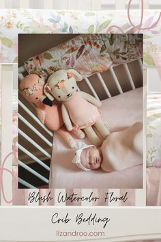 Our baby girl blush watercolor crib bedding collection pairs so nicely with your pink, white, or pastel nursery theme. Order separates or a set today!