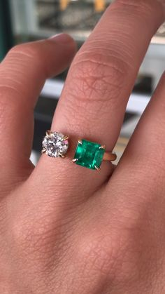 Jewelry OFF! We have a stunning emerald cut Colombian emerald accompanied by a brilliant round diamond set in yellow. UNDER 💚 DM for serious inquiries. Emerald Jewelry, Opal Jewelry, Gold Jewelry, Jewelry Rings, Jewelry Accessories, Fine Jewelry, Jewelry Design, Gold Bracelets, Diamond Jewelry