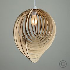 Vintage Wooden Tear Drop Pendant Shade with Spiral Design