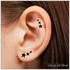 Temporary Tattoo 12 Star Ear Tattoos Finger by UnrealInkShop, $4.85