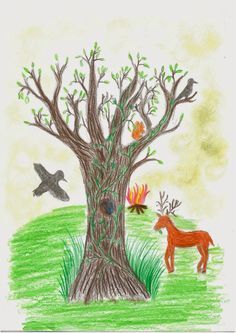 """SECOND PLACE Rani K. Age 11 Briar Hill, Victoria, Australia  Rani writes, """"In my picture I drew an ash tree with Hugin and Munin (Odin's ravens) flying around it, Ratatösk the squirrel jumping about, and a deer nibbling at the grass. Hugin and Munin have come to tell everyone that the midsummer festival is beginning in Midgard."""""""