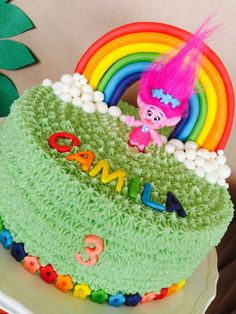 Check out this colorful Trolls Party cake! You don't want to miss the birthday party!! See more party ideas and share yours at CatchMyParty.com