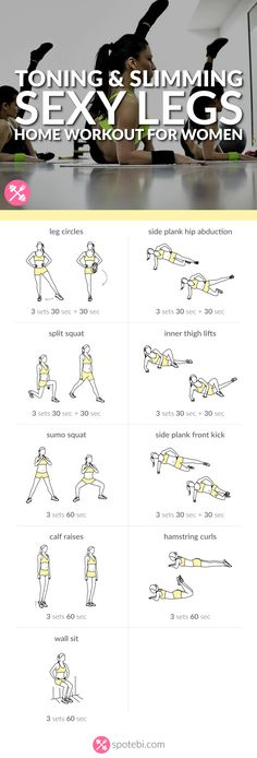 Get lean and strong with this sexy legs workout. 9 toning and slimming leg exerc… Get lean and strong with this sexy legs workout. 9 toning and slimming leg exercises to work your inner and outer thighs, hips, quads, hamstrings… Continue Reading → Leg Workout Women, Leg Workout At Home, At Home Workouts, Workout Routines, Leg Workouts, Slim Legs Workout, Fitness Workouts, Leg Gap Workout, Skinnier Legs Workout
