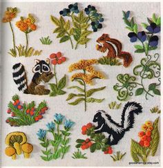 2 Crewel Embroidery Patterns Woodland Forest by goodafternew