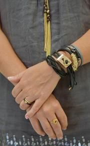 ADA jewelry collection.  Mia Bracelet, Double Lila, Kate ring. #jewelry#ADACollection#leather#SacBee