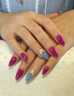 #acrylic #almond #long #nails #white #nailart #blue #purple #strass