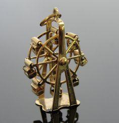 14k Gold Ferris Wheel, Vintage Moving Charm CHGD105D