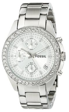 Fossil Women's ES2681 Decker Silver-Tone Stainless Steel Watch with Link Bracelet *** Want to know more about the watch, click on the image.