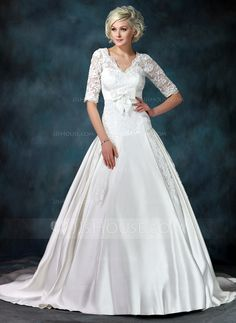 Wedding Dresses - $256.99 - Ball-Gown V-neck Chapel Train Satin Tulle Wedding Dress With Ruffle Lace Bow(s) (002011615) http://jjshouse.com/Ball-Gown-V-Neck-Chapel-Train-Satin-Tulle-Wedding-Dress-With-Ruffle-Lace-Bow-S-002011615-g11615