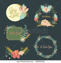 flower, wreath and dandelions. vector and illustration design.