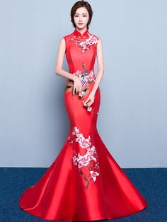 Custom Tailored Mermaid Train Qipao / Cheongsam Dress with Floral Embroidery - CozyLadyWear