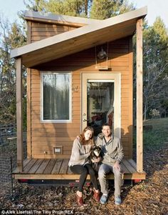 He, his girlfriend Anjali and their dog Anya moved into the tiny house that he built. (I'm down for the tiny house movement but I would definitely double the size of this house. It's super cute but I need space so I don't feel closed in. Tiny House Movement, Tiny House Plans, Tiny House On Wheels, Casas Containers, Tiny House Nation, Small Places, Tiny Spaces, Tiny House Living, House 2