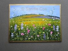 SANDIE COE . Original Miniature OIL Painting . ACEO ATC Art . WILDFLOWERS 2018