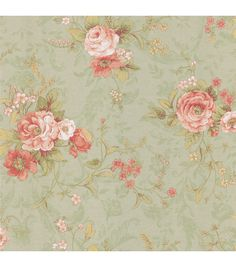 Shabby chic floral bouquets burst on the faux fabriced backdrop. This open floral adds a vintage mood to the wall. Prepasted Vinyl Coated Material20.5-in repeat and a drop matchComes on a 20.5-in x 3