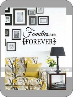 """Families are Forever"" Vinyl Lettering Wall Decal. Available in various sizes and vinyl colors. Would be great to group together with a collage of photos or even underneath a picture of an LDS Temple."