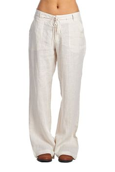 New Zenana Outfitters Draw String Linen Pants: White - Medium