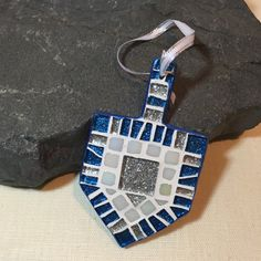 Ready to Ship, Unique Handmade Mosaic Art Silver Blue Dreidel Ornament, Jewish Holidays Decor, Last Minute Gifts Hanukkah, Hostess Gift