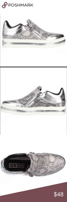 Guess silver shoes 8 Brand: Guess Heel: 1.25 inches Material: Synthetic Color: Silver Multi Toe-Shape: Round Toe  Fashionably affordable. ShoeSmart offers thousands of shoes by your favorite designers at affordable prices. Browse Michael Kors, BCBG, Nine West, Calvin Klein, Tahari, Vince Camuto, and many more for stylish pumps & heels, flats, boots, and sandals! Guess Shoes Flats & Loafers
