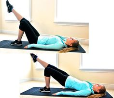 Best Stretches: Bridge With Leg Reach. Stretches chest, abs, hip flexors, glutes, legs #SelfMagazine