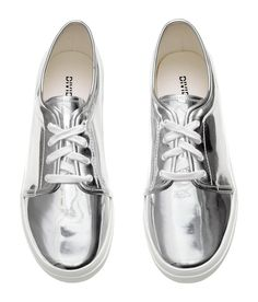 Sneakers in imitation leather with a silver-colored metallic finish. Laces, fabric lining and insoles, and rubber soles.    H&M Shoes