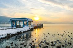 Sunset in winter at lake Wörthersee. Klagenfurt, Sunset, Winter, Places, Travel, Outdoor, Life, Beautiful, Caribbean