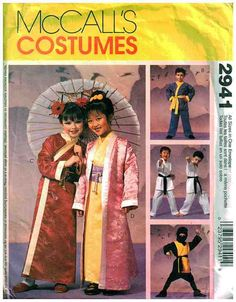 McCall's Sewing Pattern 2941 Boy's, Girl's Robe - Kimono Costume Size: 7-8 Used