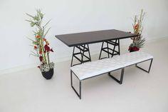 """Tisch """"Industry"""", Makassar in Kombination mit Sitzbank, weiß"""