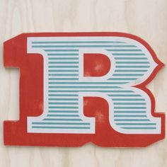 Large Screen-Printed Wooden Letter R by EdiesLab on Etsy Typography Letters, Hand Lettering, Ace Of Base, Screenprinting, Wood Letters, Monogram Initials, Wood Print, Letterpress