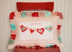 Tasha's adorably sweet Valentine pillow - especially that ruffle and all those different fabrics.