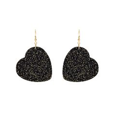 Don't wait for sweet nothings to be whispered into your ears this Valentines Day...adorn them instead with our Glitter Heart Earrings in black! Black acrylic with sparkling gold glitter is laser cut into Tatty hearts making the perfect earrings for Valentines Day and beyond.