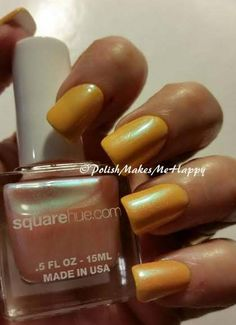 """Square Hue-1920 Decades Collection; """"Cocktails & Cigarettes"""", This was so fun! I had nice yellow base from Sinful Colors """"Chick Chick"""" and wanted to dress it up a bit... In the bottle this SH polish looks to be a pale pinkish color, but on the nail it becomes a clear base for a blue shimmer to shine thru! So not what I expected, but a wonderful surprise!!! I hope you can see the blue shimmer in my picture.  It really is a unique and cool topper!!"""