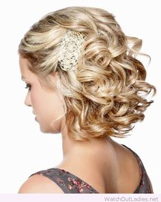 Blonde short hair, wedding hairstyle with curls and accessories