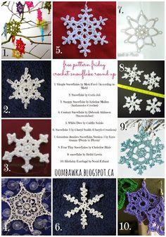 Snowflake Crochet Patterns - Crochet Patterns for Winter - https://oombawkadesigncrochet.com/2013/11/crochet-snowflakes-free-pattern-friday.html