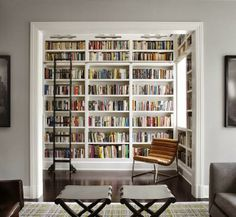 Bench and bookshelves.