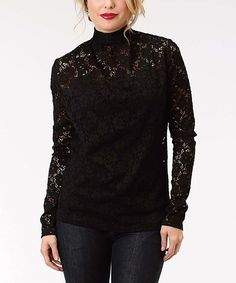 Take a look at this Black Lace-Overlay Mock Neck Top today!