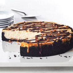 Creamy cheesecake. Oreo Cookie crust. Chocolate-caramel drizzle. A dash of pecans. Be sure to save yourself a piece, because this is...